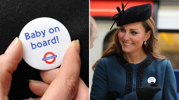 "The Duchess of Cambridge models a ""Baby on Board"" pin (Pics: PA)"
