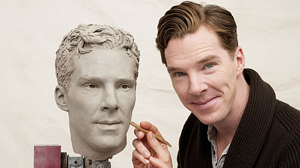 Benedict Cumberbatch and his own face (Pic: Tussauds/Rex)