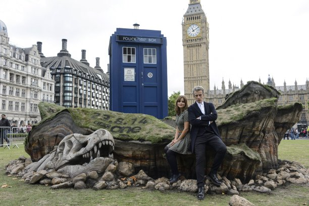Jenna Coleman and Peter Capaldi in Parliament Square, London (Pic: Rex Features/PA)
