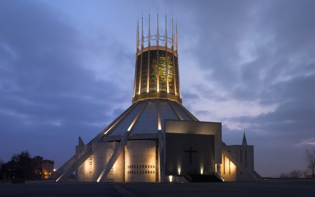 "Just half a mile away, meanwhile, stands the Liverpool Metropolitan Cathedral. The combination of its distinctive shape and Catholic denomination have earned it the local nickname ""Paddy's Wigwam"". (Wikimedia Commons)"