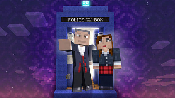 The Doctor and Clara arrive in the Minecraft dimension