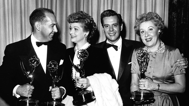 CBS program chief Harry Ackerman with 'I Love Lucy' co-stars Lucille Ball, Desi Arnaz and Vivian Vance. (Photo: TVA/PictureGroup/Invision for the Academy of Television Arts & Sciences/AP Images)