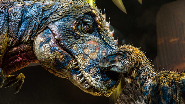 A mother and baby T. rex in the 'Walking with Dinosaurs' live show. (Photo: Patrick Murphy)