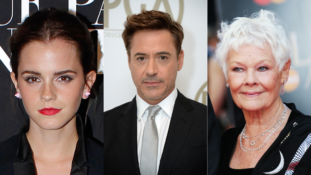 Emma Watson, Robert Downey, Jr., Judi Dench. (Photos: AP)