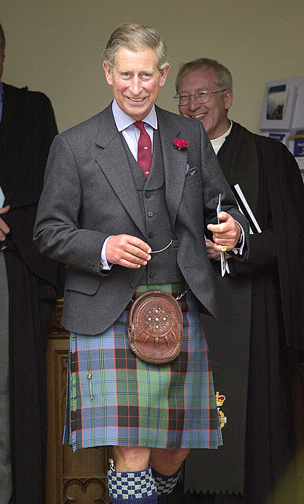 """Prince Charles the Prince of Wales wears a Stewart Ancient Colours kilt as he visits Queens Cross Church in Aberdeen, Scotland Sunday, Sept. 22, 2002. He likes organic farming and hunting with hounds, but doesn't like modern architecture. Now it seems Prince Charles is also a foe of political correctness and an """"American-style'' growth in personal litigation. Charles says he's fulfilling his """"proper role'' as the heir to the throne by sharing his opinions in letters to government ministers. (AP Photo/PA, David Cheskin, Pool)"""