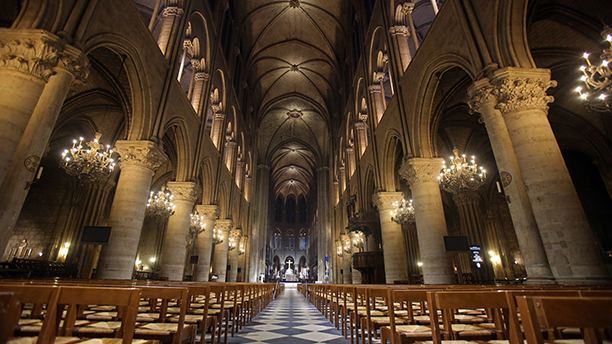 View of Notre Dame Cathedral in Paris with its new interior lighting presented Tuesday March 11 & 10 Place Names Brits and Americans Pronounce Differently ...