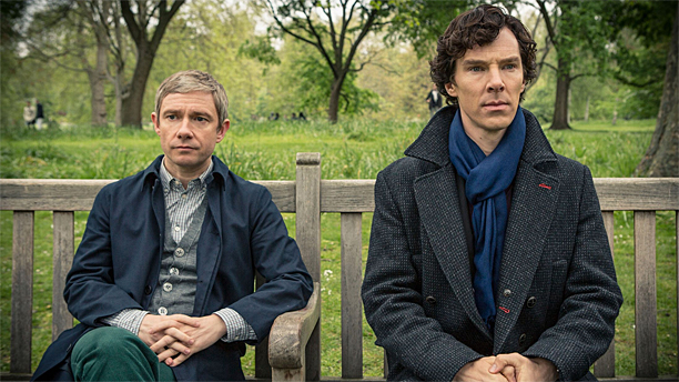 """""""So, how did the murderer do it?"""" Martin Freeman and Benedict Cumberbatch in Sherlock (Pic: BBC)"""