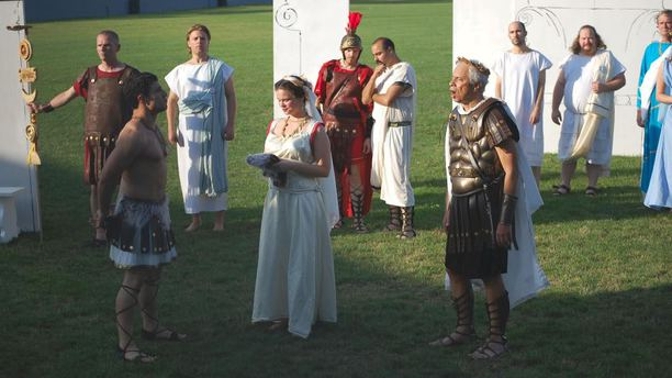 The Madison Shakespeare Company during a performance of Julius Caesar (Facebook).
