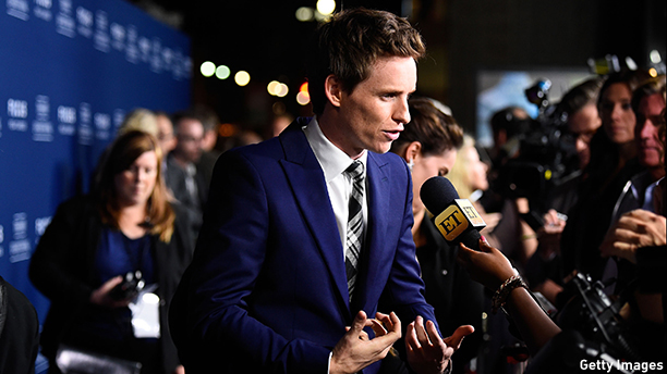 "OCTOBER 28:  Actor Eddie Redmayne arrives to the Premiere of Focus Features' ""The Theory Of Everything"" at AMPAS Samuel Goldwyn Theater on October 28, 2014 in Beverly Hills, California.  (Photo by Frazer Harrison/Getty Images)"