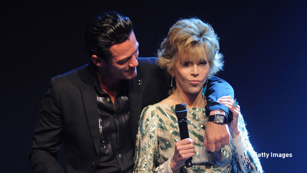 ANTIBES, FRANCE - MAY 19:  Jane Fonda and Luke Evans onstage at amfAR's Cinema Against AIDS Gala during the 64th Annual Cannes Film Festival at Hotel Du Cap on May 19, 2011 in Antibes, France.  (Photo by Francois Durand/Getty Images)