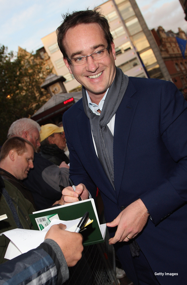 LONDON - OCTOBER 18:  Actor Matthew Macfadyen  signs autographs at the BFI 52'nd London Film Festival European premier of Incendiary in Leicester Square on October 18, 2008 in London, England.  (Photo by Dan Kitwood/Getty Images)