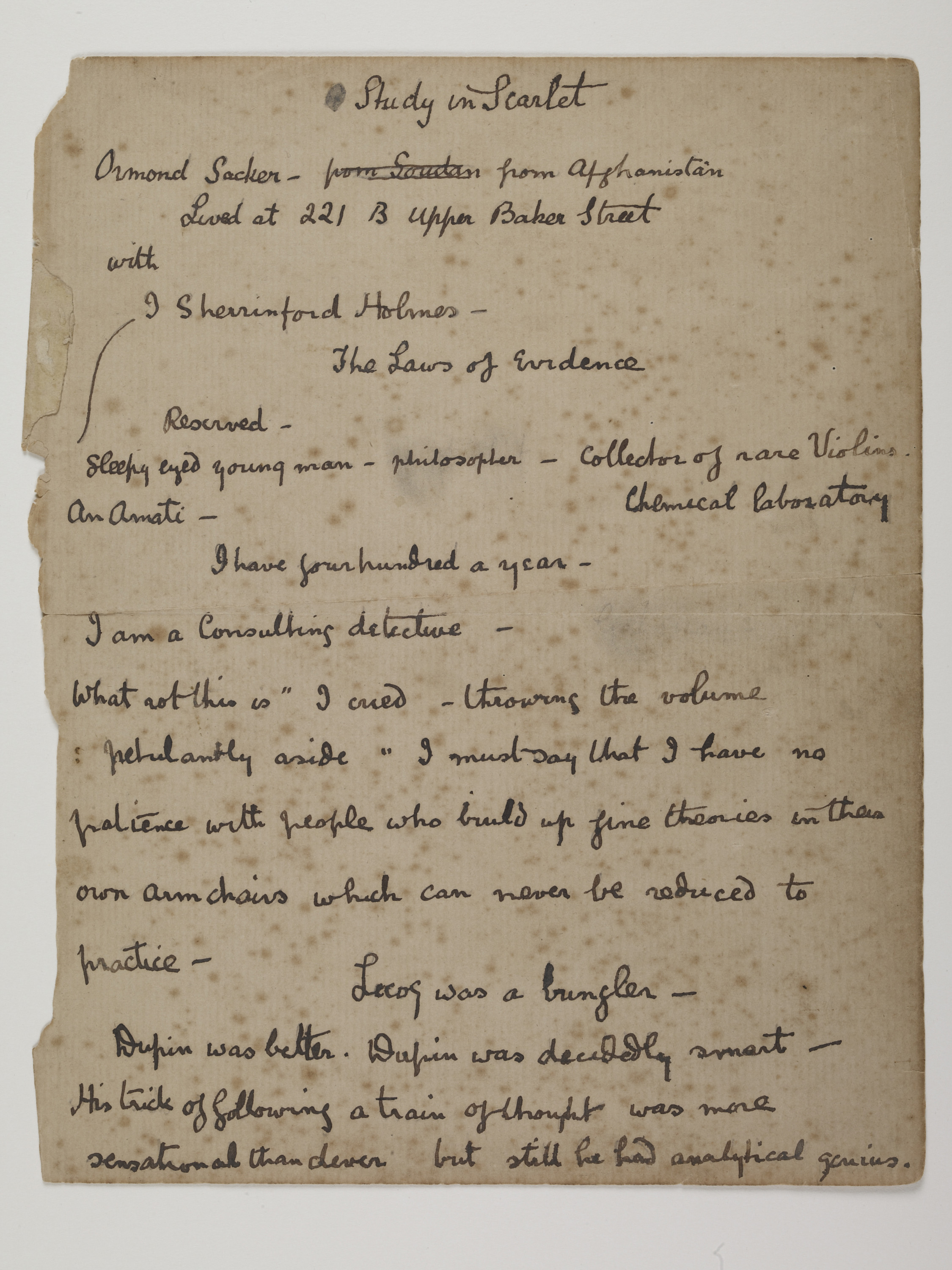 Conan Doyle's original notes. (Museum of London)