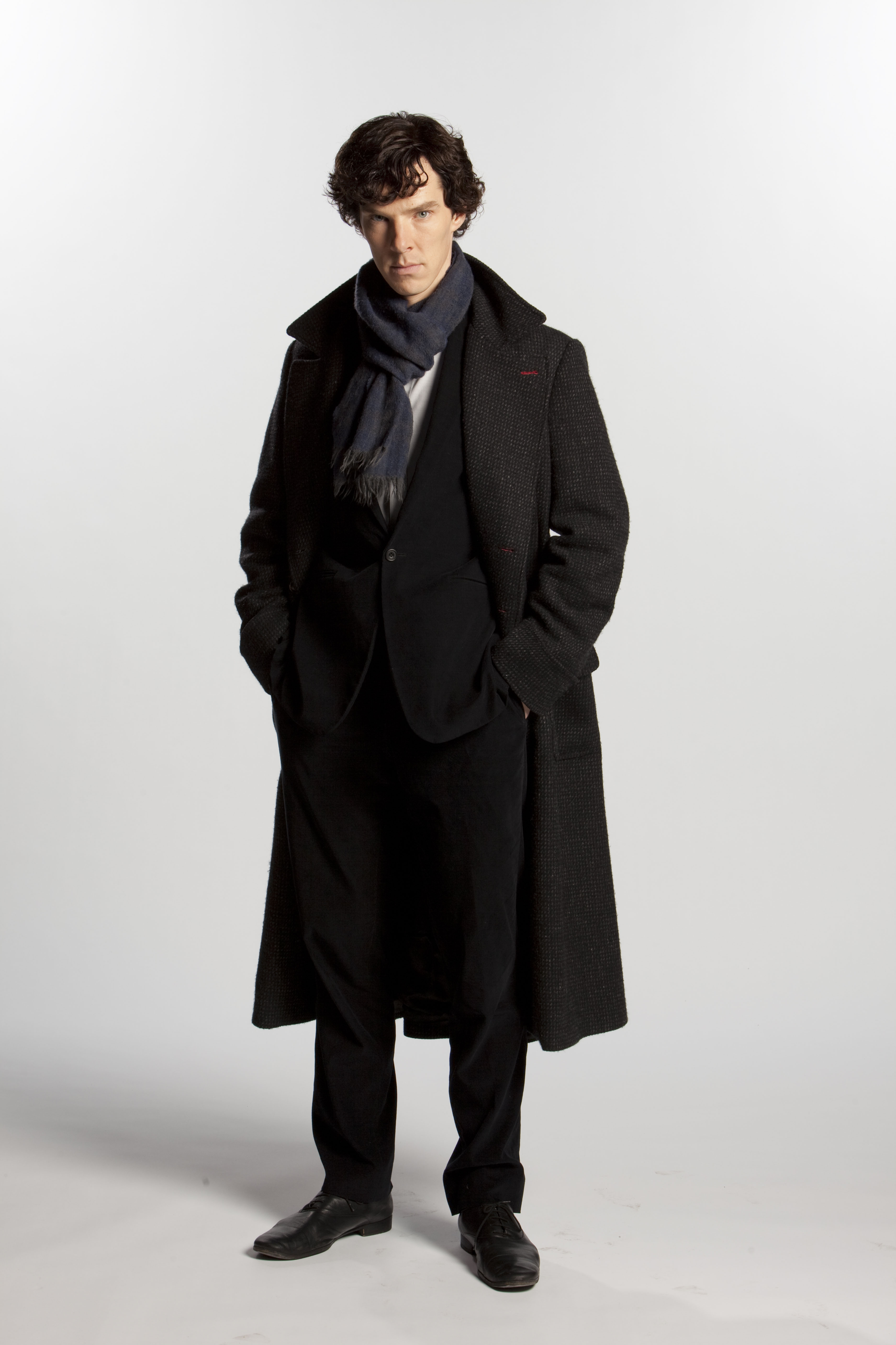 Cumberbatch in his now-iconic coat. (BBC)