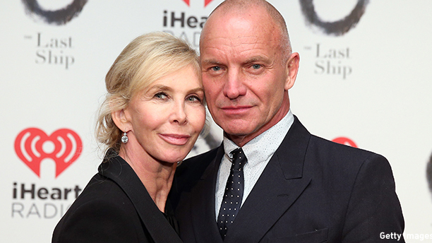 "NEW YORK, NY - OCTOBER 26:  Sting and Trudie Styler attend the ""The Last Ship"" Broadway opening night after party at Pier 60 on October 26, 2014 in New York City.  (Photo by Neilson Barnard/Getty Images)"