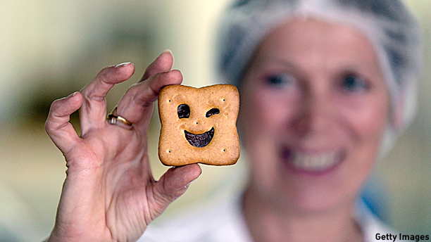 A happy French biscuit made by a happy British biscuit company