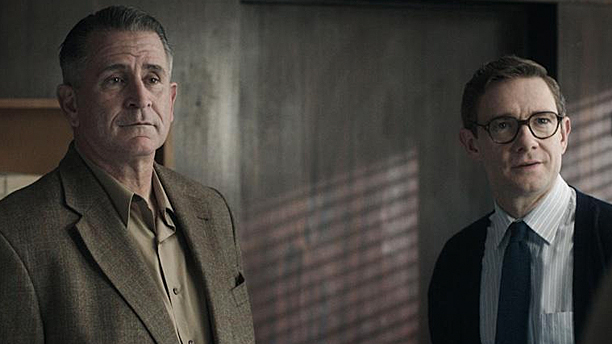 Anthony LaPaglia and Martin Freeman in 'The Eichmann Show' (Pic: BBC)