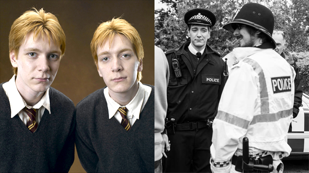 James and Oliver Phelps as Fred and George Weasley and on the set of 'Own Worst Enemy'
