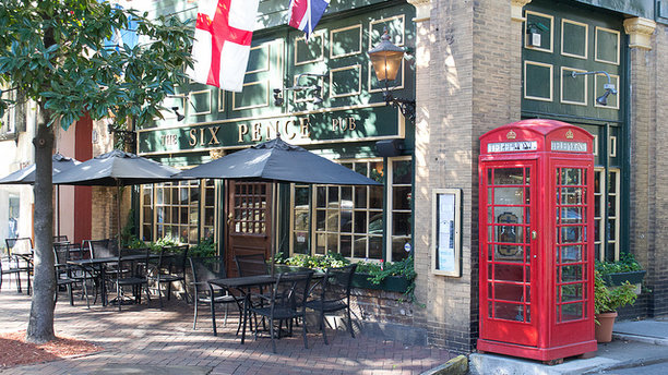 The Brit-themed exterior of The Six Pence Pub. (Bring Fido)