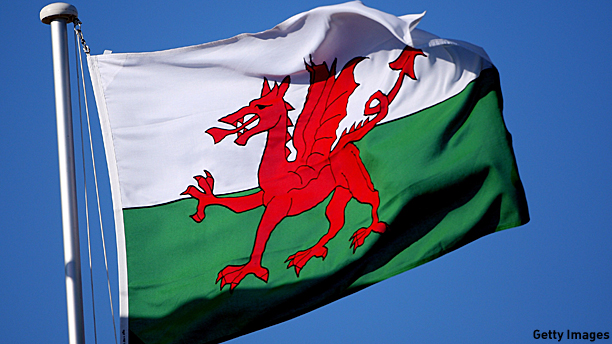 The Welsh flag,