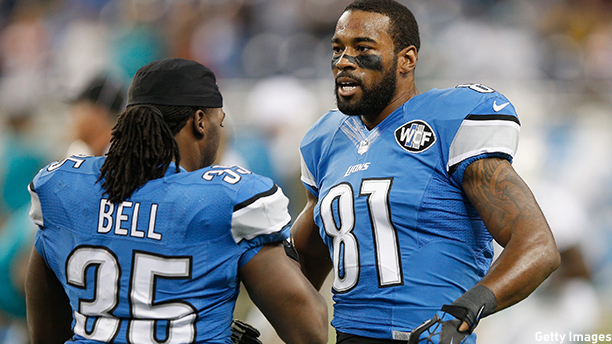 Calvin Johnson (right) of the Detroit Lions. (Photo: Joe Robbins/Getty Images)