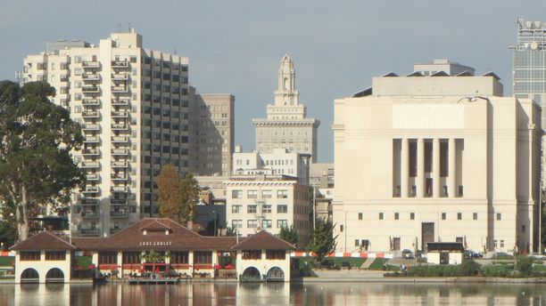 The Oakland Scottish Rite Facility as seen from Lake Merritt.