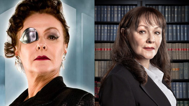 Frances Barber as Madame Kovarian in 'Doctor Who' and Caroline Warwick in 'Silk'