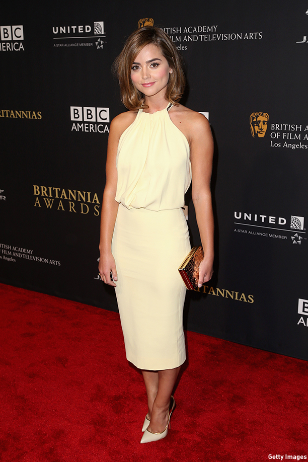 BEVERLY HILLS, CA - OCTOBER 30:  Actress Jenna Coleman attends the 2014 BAFTA Los Angeles Jaguar Britannia Awards Presented By BBC America And United Airlines at The Beverly Hilton Hotel on October 30, 2014 in Beverly Hills, California.  (Photo by Frederick M. Brown/Getty Images)