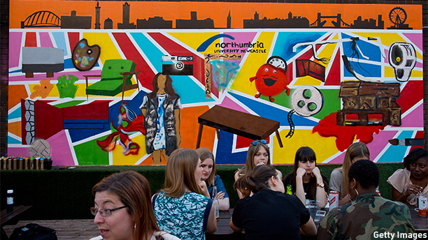 LONDON, ENGLAND - JULY 03:  A general view of the finished work. A guerilla street art mural that brings Northumbria University, Newcastle's student designs to life at Ely's Yard on July 3, 2014 in London, England.  (Photo by Ben A. Pruchnie/Getty Images for Northumbria University)