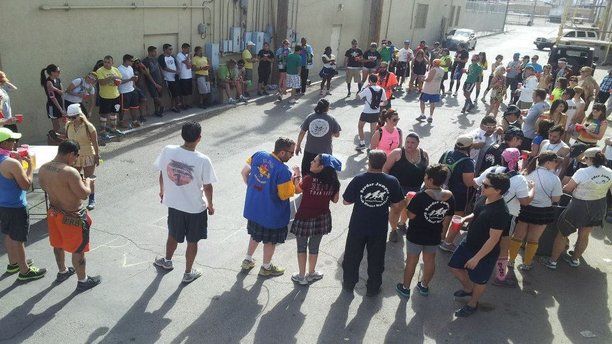 """Over 100 runners showed up to pay Hound and Hare at the """"Porta John 1000 Runs"""" event in February 2014. (El Paso Hash House Harriers)"""