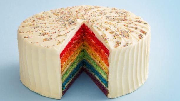 Rainbow Cake with vanilla icing at London's Hummingbird Bakery. (Hummingbird Bakery)