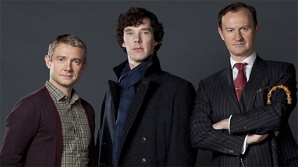 Martin Freeman, Benedict Cumberbatch and Mark Gatiss in their 'Sherlock' finery (Pic: BBC)
