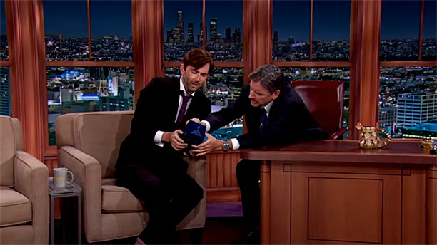 David Tennant and Craig Ferguson on 'The Late, Late Show' (Pic: CBS)