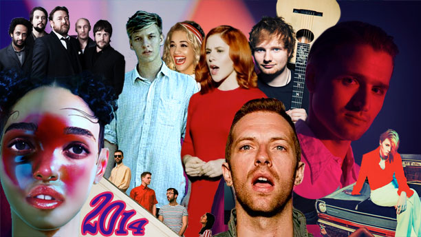 L-R: FKA twigs, Elbow, Teleman, George Ezra, Rita Ora, Katy B, Coldplay, Ed Sheeran, Wild Beasts, La Roux)