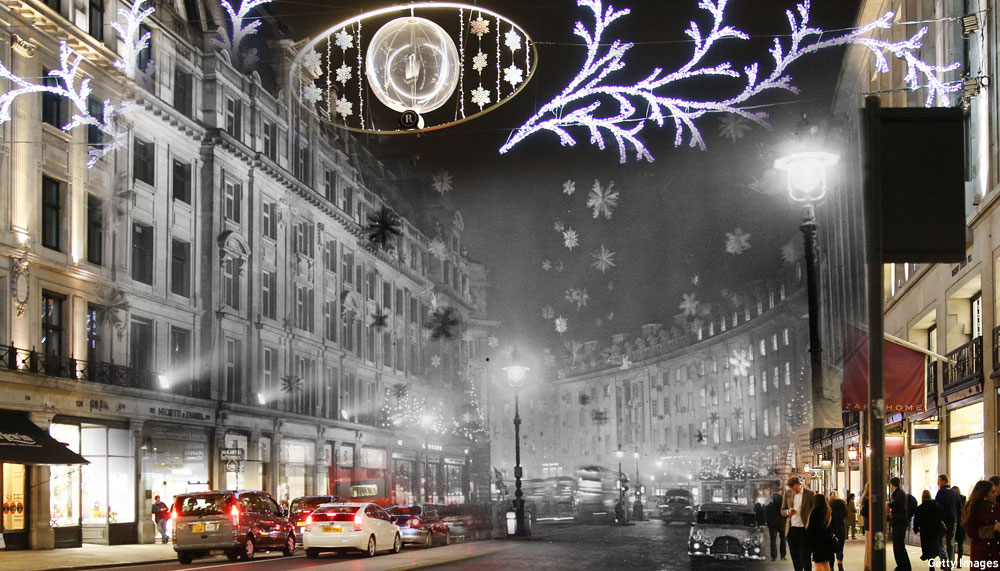 Regent Street 1955/2014 (Pics by Keystone/Peter Macdiarmid/Getty Images)