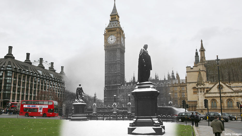 Parliament Square 1938/2014 (Pics by Topical Press Agency/Hulton Archive/Peter Macdiarmid/Getty Images)