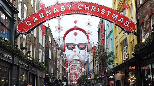 LONDON, ENGLAND - NOVEMBER 25:  A general view of Carnaby Street during the Christmas Shopping period on November 25, 2014 in London, England.  (Photo by Stuart C. Wilson/Getty Images)