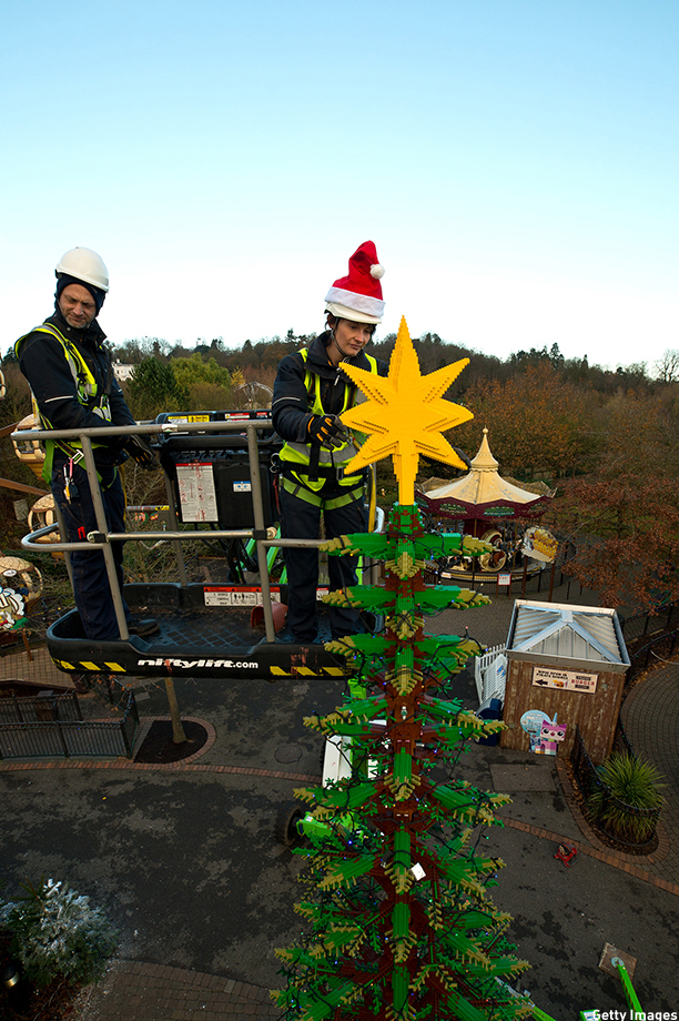 WINDSOR, ENGLAND - DECEMBER 03:  Legoland Windsor unveil a 8mchristmas tree made of Lego at LEGOLAND Windsor on December 3, 2014 in Windsor, England.  (Photo by Ben A. Pruchnie/Getty Images)