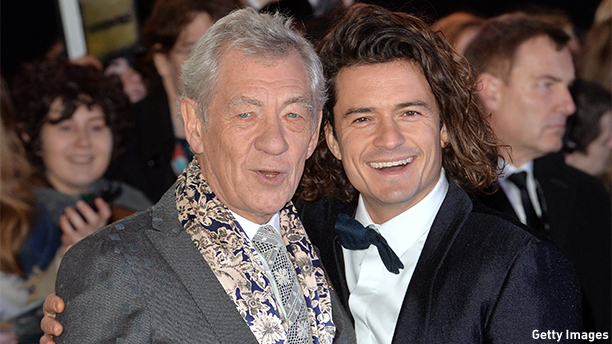 "LONDON, ENGLAND - DECEMBER 01:  Sir Ian McKellen(L) and Orlando Bloom attend the World Premiere of ""The Hobbit: The Battle OF The Five Armies"" at Odeon Leicester Square on December 1, 2014 in London, England.  (Photo by Anthony Harvey/Getty Images)"