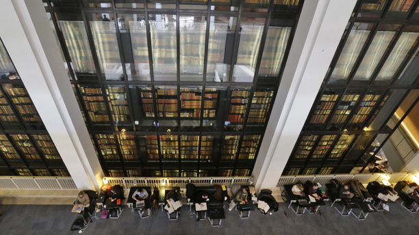 Guys, turn around, there's so much inside! The British Library, in London, has preserved a copy of every book, pamphlet, magazine and newspaper published in Britain. (AP/Lefteris Pitarakis)