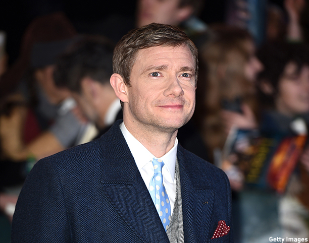 "English actor Martin Freeman poses for pictures on the red carpet upon arrival for the world premier of ""The Hobbit: The Battle of the Five Armies"" in central London on December 1, 2014. AFP PHOTO/LEON NEAL        (Photo credit should read LEON NEAL/AFP/Getty Images)"