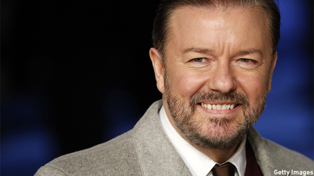 British actor Ricky Gervais poses as he arrives for the European premiere of the film 'Night at the Museum: Secret of the Tomb' in London on December 15, 2014.  AFP PHOTO / JUSTIN TALLIS        (Photo credit should read JUSTIN TALLIS/AFP/Getty Images)