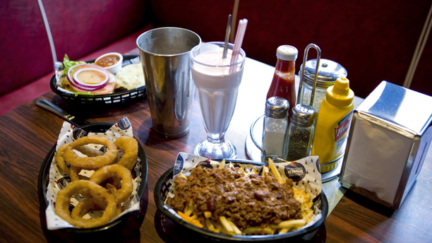 Onion Rings and Chili Cheese Fries at The Diner. (Time Out)