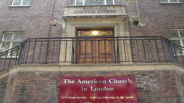 The exterior of London's American International Church. (tiredoflondontiredoflife.com)