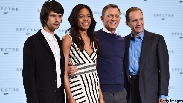 Ben Whishaw, Naomie Harris, Daniel Craig and Ralph Fiennes at the launch of 'Spectre' (Pic: Ben Stansall/AFP/Getty Images)