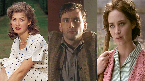 From left: Rosamund Pike, David Tennant, Emily Blunt. (Photos: Acorn TV)