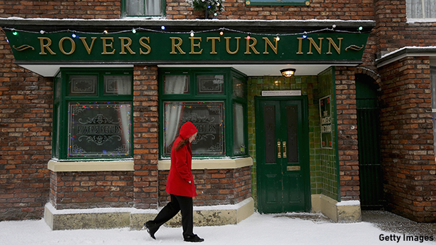 "The Rovers Return Inn is the famous ""local"" from the British soap 'Coronation Street.'  (Photo by Christopher Furlong/Getty Images)"