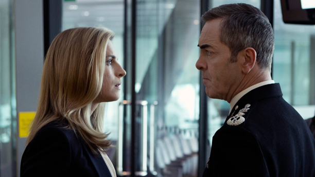 Brit Marling and James Nesbitt have a staring contest in Babylon. (SundanceTV)