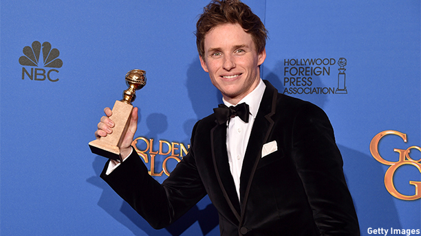 BEVERLY HILLS, CA - JANUARY 11:  Actor Eddie Redmayne, winner of Best Performance in a Motion Picture - Drama for 'The Theory of Everything,' poses in the press room during the 72nd Annual Golden Globe Awards at The Beverly Hilton Hotel on January 11, 2015 in Beverly Hills, California.  (Photo by Kevin Winter/Getty Images)