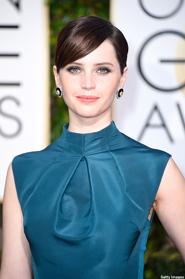 BEVERLY HILLS, CA - JANUARY 11:  Actress Felicity Jones attends the 72nd Annual Golden Globe Awards at The Beverly Hilton Hotel on January 11, 2015 in Beverly Hills, California.  (Photo by Frazer Harrison/Getty Images)