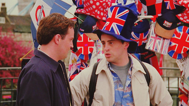 Joey gets his British on in London for Monica's wedding. (NBC)